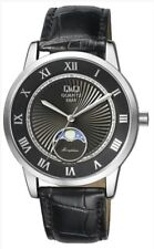 CITIZEN QQ $119 MEN'S MOON PHASE SILVER, BLACK DIAL, DOME CRYSTAL LEATHER WATCH