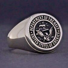 Y61 925K SOLID STERLING SILVER USA NAVY ANTIQUE SILVER RING BY PRUVA JEWELRY