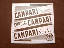 Pubblicità d'epoca del 1940 Aperitivo, Cordial e Campari Soda Davide C. Milano
