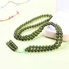 Green GEM MOLDAVITE Meteorite Impact Glass Round Bead Bracelet -10mm / 108Beads