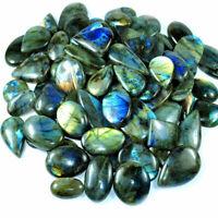 250 Ct Natural Mixed Cabochon Multi-Flashy Labradorite Gemstone Lot 1