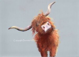 ADORABLE HIGHLAND COW, LIMITED EDITION FINE ART PASTEL PRINT, WALL ART PAINTING