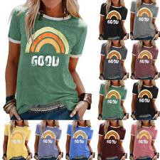 Womens Tee T Shirt Patchwork Loose Blouse Casual Ladies Rainbow Sweatshirt Tops