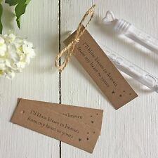 25 Bubble Funeral Favour Tags -I'll blow kisses to heaven from my heart to yours