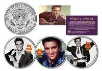 ELVIS PRESLEY * King Creole * Colorized JFK Half Dollar U.S. 3-Coin Set LICENSED