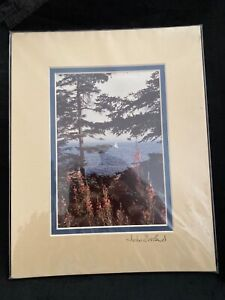 John Eveland Signed Sailboat on the Water Photograph, Dry Mounted Double Matte