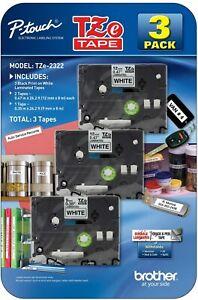 NEW SEALED P-Touch TZe Tape 3 Pack Black Print White Label TZe-2322 FREE SHIP