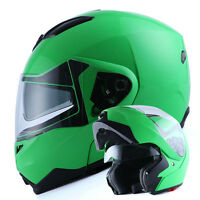 NEW 1Storm DOT Motorcycle Bike Modular Flip up Full Face Helmet Sun Visor Green