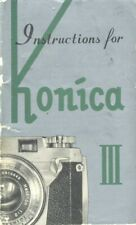 Konica III Instruction Manual 1957 with Accessories Sheet