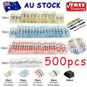 500Pcs Solder Seal Sleeve Heat Shrink Waterproof Wire Connectors Butt Terminals