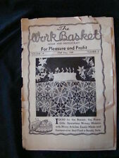 Workbasket May 1949 Vol 14 #8 Patterns Crochet Knit Doily Quilt Tablecloth Baby