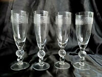 "4x Vintage Crystal Glass Champagne Flutes Glasses 8.5"" / 21.5cm Tall"