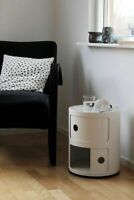 BEDROOM BATH COMPONIBILI BEDSIDE SLIDE DRAWER ROUND TABLE STORAGE COFFEE SIDE