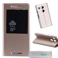 Custodia cover flip eco pelle GOLD con stand e call id per Google Nexus 5X