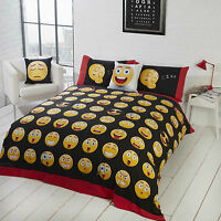 Emoji Icons Duvet Quilt Cover White Black Faces - Emojis Happy Funny Bedding