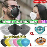 Reusable Separate Nose Mouth Mask With 5/10X Carbon Purify Filter Pad Respirator