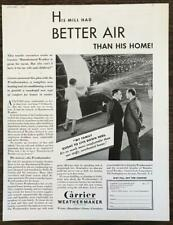 1932 Carrier Weathermaker Heating and Air Conditioning Print Ad