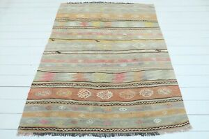 "Turkish Afion Small Kilim, Bedroom Rug 5x7, Kelim Small Rug Carpet Tapis 55""X72"""