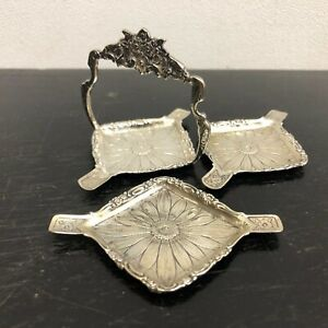 Solid 800 Silver Set of Stackable Table Personal Ashtrays Ornate Floral
