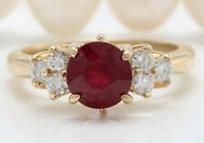 3.10 Carat Natural Ruby and Diamonds in 14K Solid Yellow Gold Women Ring