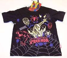 Marvel Comics Spiderman Boys Black Gold Printed T Shirt Size 3 New