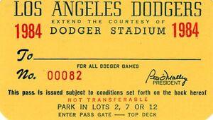 1984 Orel Hersheser First Win/204 life Ticket Pass LA Dodgers Vs STL Nr Mt