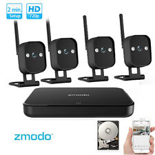 Zmodo 4CH 720p HD Smart Funk Sicherheitesystem 4 Wlan Überwachungskameras 1TB