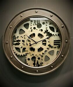 Large Gears Style Port hole Modern Contemporary Silver Metal Wall Clock