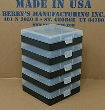 38 / 357 Berry Ammo Boxes 100 Round Plastic Ammo Storage (5-Pack Clear / Black)