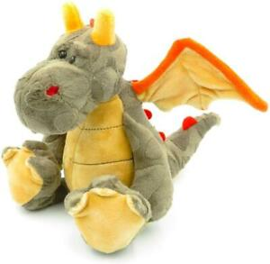 8 inch Dragon Plush Stuffed Cuddly Toy Plush Beige / Brown / Red