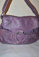 Salvatore  FERRAGAMO purple leather shoulder bag  flap over purse