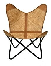 Justa Bamboo Butterfly Chair Iron Stand and Leather Cover Indoor Outdoor Chair