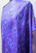 *85cm Square Vintage Indian Hand Block Printed Purple & Red Silk Scarf