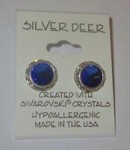 Sapphire Blue Rhinestone Rivoli Earrings 12mm New Silver Tone Made withSwarovski
