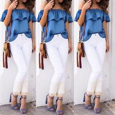 Fashion Women Plus Off Shoulder Tops Casual Party Jeans Shirt Denim Blouse Shirt