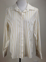 *NEW* TALBOTS L/S Striped NO IRON Stretch Blouse (French Cuffs)- 14, White Gold