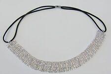 Silver Plated Clear Rhinestone Crystal Stretch Headband Wedding Bridal # 6459