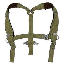 1960s Army Shoulder Harness Webbing Green Linen Webbing Braces Suspenders