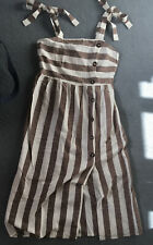 Primark Dress With Fake Buttoning And Thin Straps Cream & Brown Stripe Size 10
