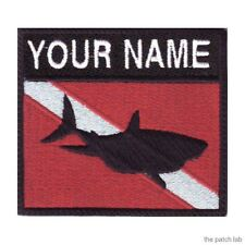 SCUBA SHARK BADGE CUSTOM FLAG EMBROIDERED SEW ON PATCH