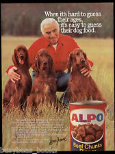 1985 Alpo Dog Food advertisement, LORNE GREENE with Irish Setters