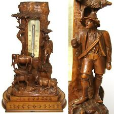 """Antique Black Forest 10"""" Thermometer Stand: Pastoral with Cows, Calf & Herder"""