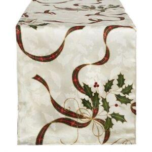 "Lenox Christmas Table Runner Nouveau Ribbon Ivory 90"" Long Tartan Plaid Holiday"