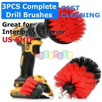 Power Scrubber 4 Red Drill Brush Set Cleaner Spin Tub Shower Tile Grout Wall