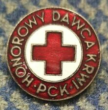 POLAND RED CROSS CLUB HONORARY BLOOD DONOR 1970's SILVER ENAMEL PIN BADGE