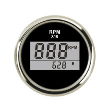 LCD Display RPM Tachometer Gauge Hour Meter 12/24V 0-9990RPM Waterproof Car Boat