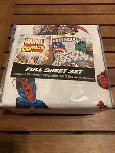 New 4-pc. MARVEL Comics 4-pc. FULL sz sheet set HULK SPIDERMAN THOR