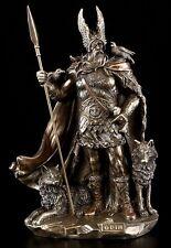 Odin Figur mit Wölfen - Nordischer Gott Göttervater Statue Wikinger Ase Verone