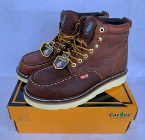 """NEW - Cactus Work Boots 6061M Brown 6"""" Moc Toe Real Leather Puncture Resistant"""