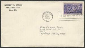 Scott #855 Baseball Centennial, Cooperstown 1st Day Issue Cover, High CV